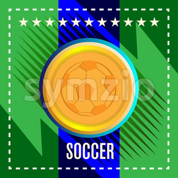 Digital vector, football and soccer ball, abstract green background with stars and triangles, flat style Stock Vector