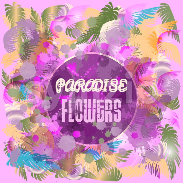 Digital vector purple colored paradise flowers background, flat style Stock Vector