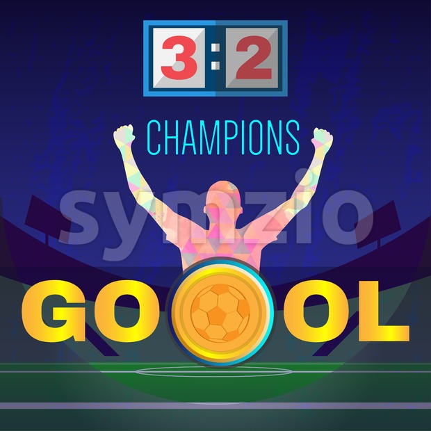 Digital vector, football and soccer champions, gool, abstract sportsmen with hand in the air, stadium with lights