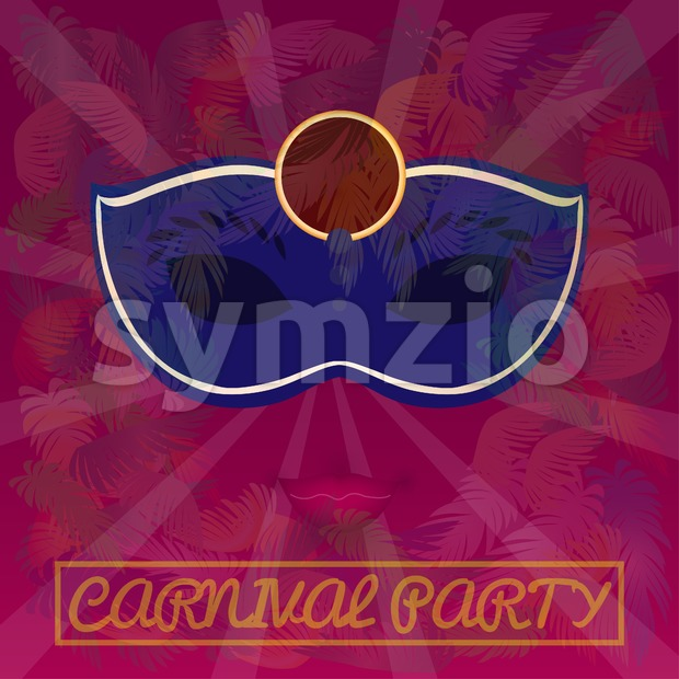 Digital vector blue mask over red background with palm trees, carnival party, flat style Stock Vector
