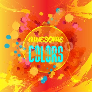 Digital vector abstract blue and yellow awesome colors over red background, flat style Stock Vector