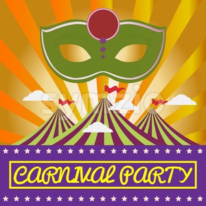 Digital vector green mask over orange background with clouds, carnival party, flat style Stock Vector