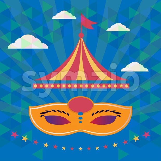 Digital vector orange mask over blue background with clouds, carnival party, flat style Stock Vector
