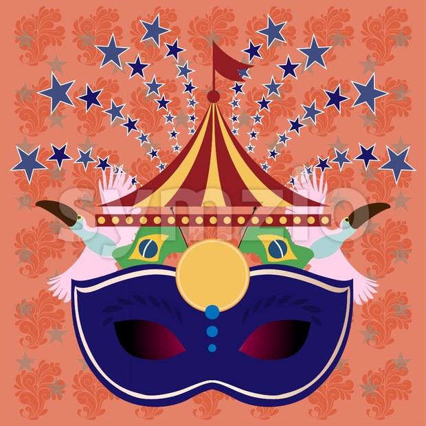 Digital vector blue mask over orange background with stars, rio carnival party, toucan birds and brazilian flag, flat style Stock Vector