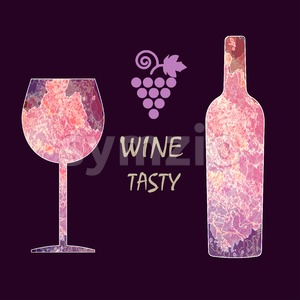 Wine tasting card infographic, grape sign, purple bottle over dark background with a purple glass. Digital vector image. Stock Vector