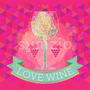 Wine tasting card, grape sign and a colored glass, red ribbon love wine. Digital vector image. Stock Vector
