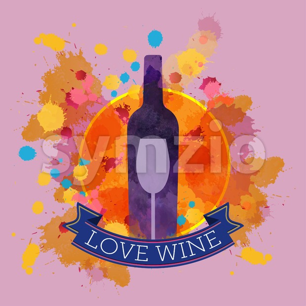 Wine tasting card with colors, a purple bottle and glass, blue ribbon love wine. Digital vector image. Stock Vector