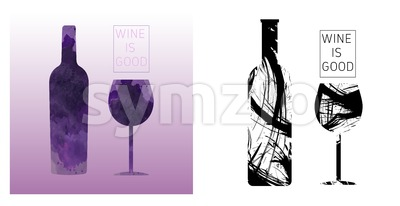 Wine tasting card set, with colored bottle and a glass over a burgundy background. Digital vector image. Stock Vector