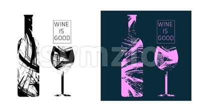 Wine tasting card set, with colored bottle and a glass. Digital vector image. Stock Vector