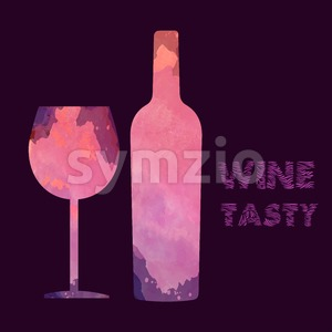Wine tasting card, with colored bottle and a glass over a burgundy background. Digital vector image. Stock Vector