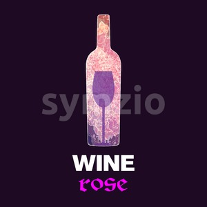 Rose wine tasting card, with colored bottle and a glass over a burgundy background. Digital vector image. Stock Vector