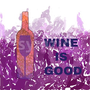 Wine tasting card, with colored bottle and a glass over a dark pink background. Digital vector image. Stock Vector