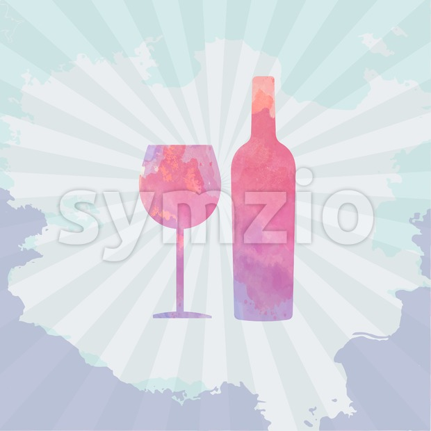 Wine tasting card, with colored bottle and a glass over a light splash painted background. Digital vector image. Stock Vector