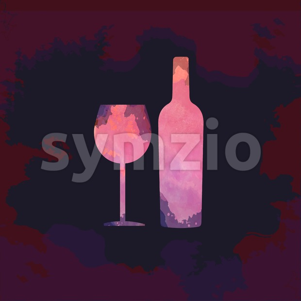 Wine tasting card, with colored bottle and a glass over a dark splash painted background. Digital vector image. Stock Vector
