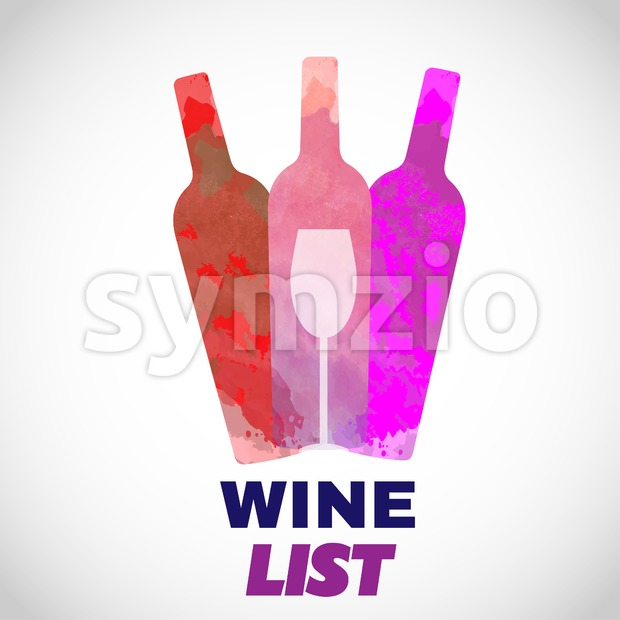 Wine tasting card, with colored bottles and a glass over a white background. Digital vector image. Stock Vector