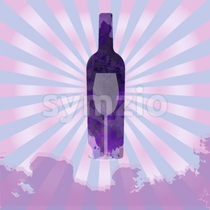 Wine tasting card, with colored bottle and a glass over a splash painted background. Digital vector image. Stock Vector