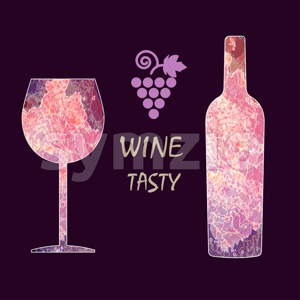 Wine tasting card, with colored bottle, a grape and a glass over a dark burgundy background. Digital vector image. Stock Vector