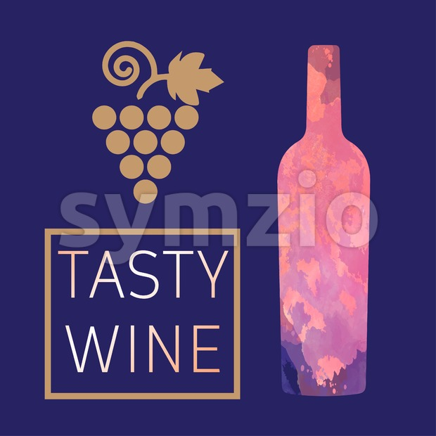 Wine tasting card, with colored bottle and grape over a dark blue background. Digital vector image. Stock Vector