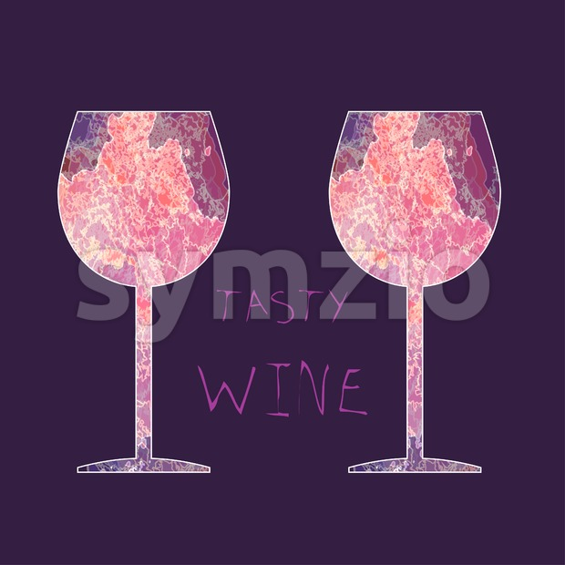 Wine tasting card, with colored glasses over a dark pink background. Digital vector image. Stock Vector