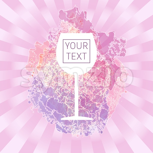 Wine tasting card with your text, with white glass over a pink splash painted background. Digital vector image.