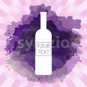 Wine tasting card with your text, with white bottle over a pink splash painted background. Digital vector image. Stock Vector