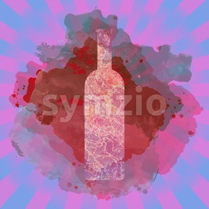 Wine tasting card, with colored bottle over a colored splash painted background. Digital vector image. Stock Vector
