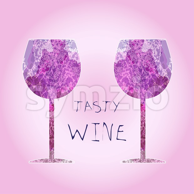 Wine tasting card, tasty text, with white two glasses over a pink background. Digital vector image. Stock Vector