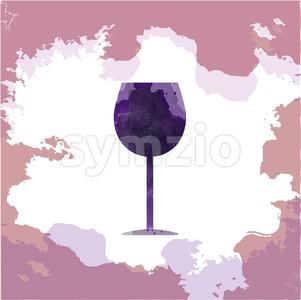 Wine tasting card, with a glass over a pink splash painted background. Digital vector image. Stock Vector