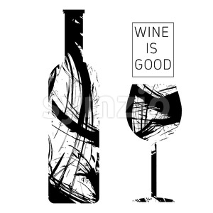 Wine tasting card in black outlines, with a bottle and a glass over a white background. Digital vector image. Stock Vector