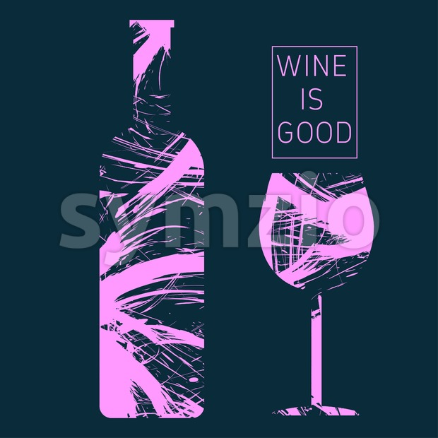 Wine tasting card in pink outlines, with a bottle and a glass over a dark background. Digital vector image. Stock Vector
