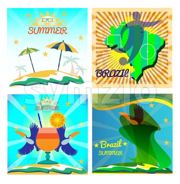 Digital vector image. Abstract summer card with toucan birds and a cocktail on sand and sea background. Sun umbrella, soccer, ball. Flat style Stock Vector