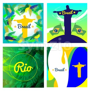 Digital vector image. Abstract Brazil and statue design over colored background. Flat style Stock Vector