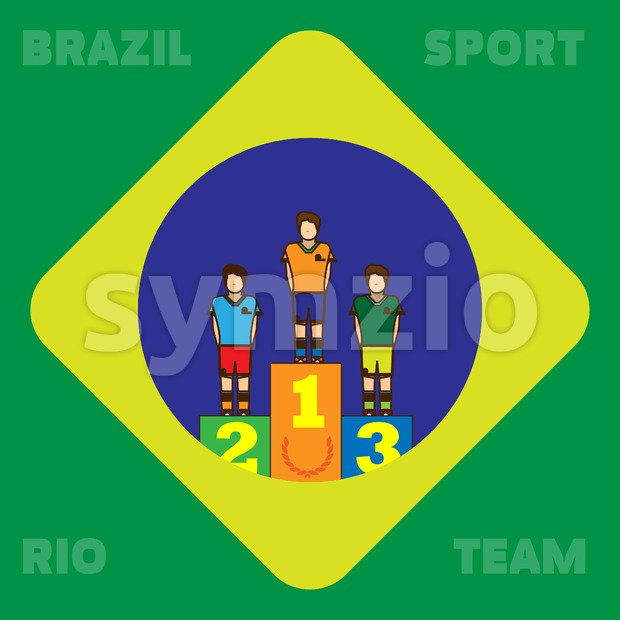 Rio, Brazil, Sport and Team card with first, second and third places champions. Digital vector image. Stock Vector
