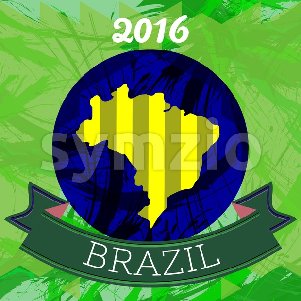 Abstract Brazil 2016 design with map of the country. Digital vector image Stock Vector