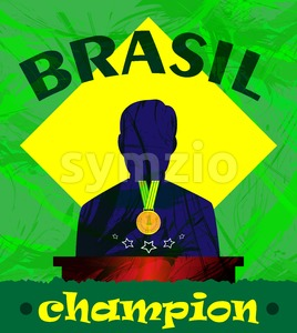 Abstract Brazil champion design with a man silhouette and first place medal .Digital vector image Stock Vector