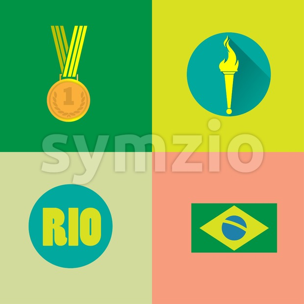 Rio, gold medal, burning torch and brazil flag icons set. Digital vector image. Stock Vector
