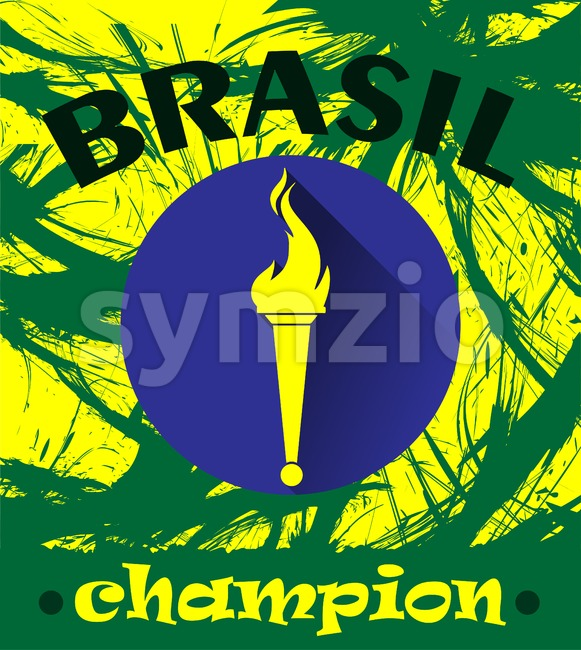 Abstract Brazil champion design with burning flame logo. Digital vector image Stock Vector