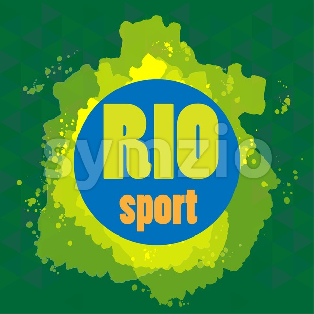 Abstract rio sport design with blue circle. Digital vector image Stock Vector