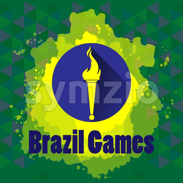 Abstract Brazil games design with burning flame logo on blue circle. Digital vector image Stock Vector