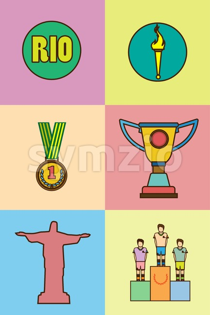 Rio, gold medal, burning torch and brazil flag icons set. Digital vector image.