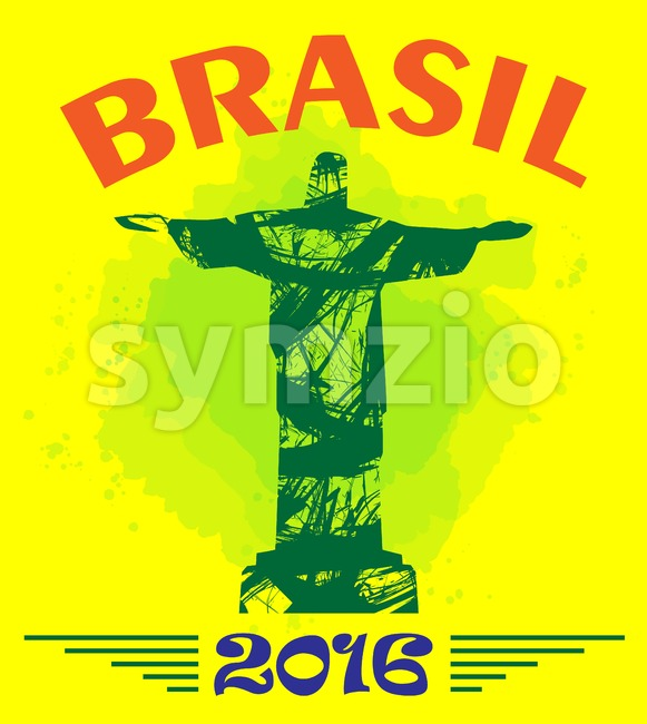 Abstract Brasil 2016 design with statue over yellow background. Digital vector image Stock Vector