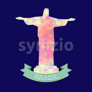Abstract Brasil 2016 design with statue over blue background. Digital vector image Stock Vector