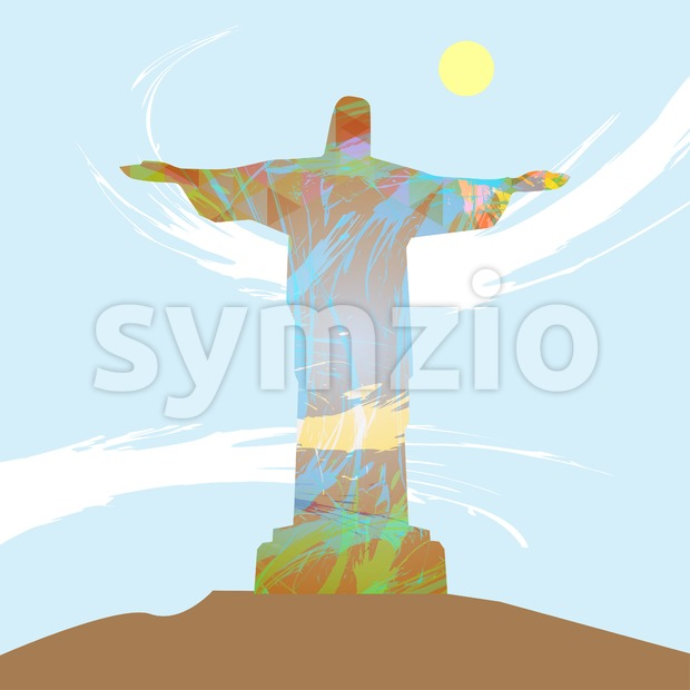 Abstract design with statue over light blue background with yellow sun. Digital vector image