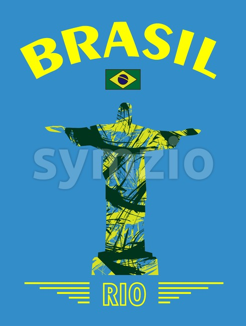 Abstract Brasil and rio design with statue over blue background. Digital vector image Stock Vector