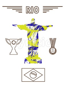 Abstract medal and rio design in outlines with statue over white background. Digital vector image Stock Vector