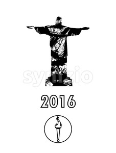 Abstract 2016, statue and burning torch design in outlines over white background. Digital vector image Stock Vector