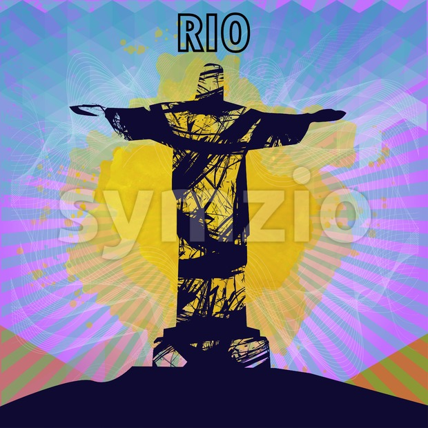 Abstract rio design in outlines with statue over colored background. Digital vector image Stock Vector