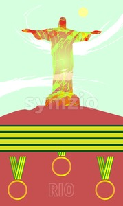 Abstract medal and rio design with statue over light green background with yellow sun. Digital vector image Stock Vector