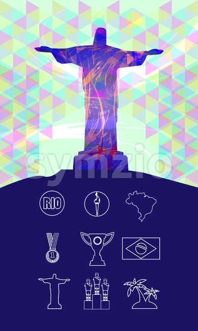 Rio, gold medal, burning torch and brazil flag icons set in outlines with statue over colored background. Digital vector image. Stock Vector