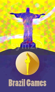 Brazil games, burning torch and statue over yellow background. Digital vector image. Stock Vector